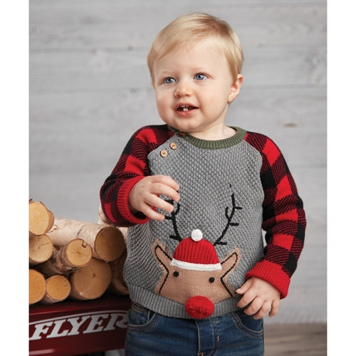 Buffalo Check Reindeer Sweater - The Milk Moustache