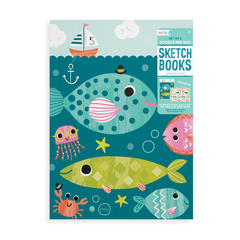 Doodle Pad Duo Set of 2 - Friendly Fish