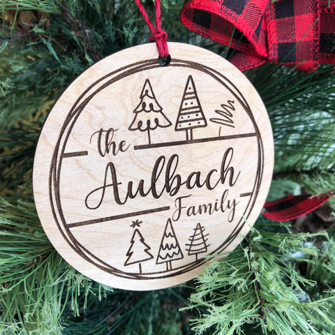 Christmas Trees Family Name Wooden Christmas Ornament - The Milk Moustache