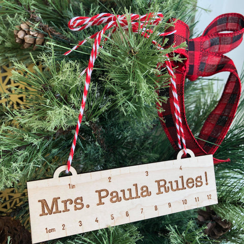 Teacher Rules Personalized Wooden Ornament - The Milk Moustache