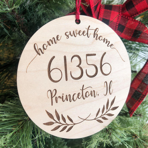 Home Sweet Home Zip Code Custom Christmas Ornament - Any City & Zip! - The Milk Moustache