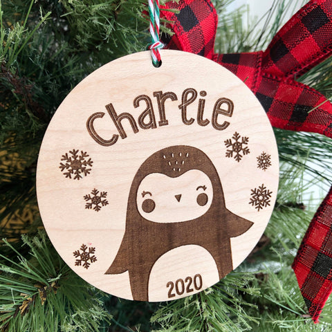 2020 Penguin Cutie Personalized Wooden Ornament - The Milk Moustache