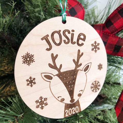 2020 Reindeer Cutie Personalized Wooden Ornament - The Milk Moustache