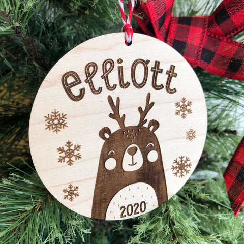2020 Bear-Deer Cutie Personalized Wooden Ornament - The Milk Moustache