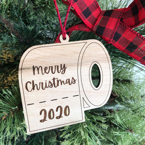 2020 Merry Christmas Toilet Paper Wooden Ornament - The Milk Moustache