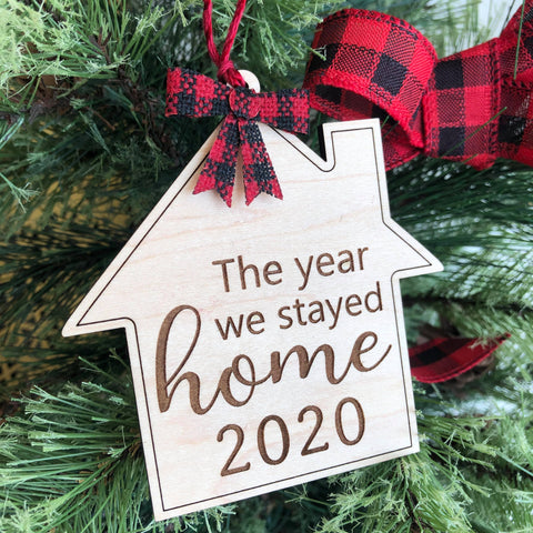 "2020 Quarantine ""Stayed Home"" Wooden Ornament - The Milk Moustache"