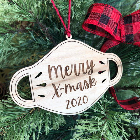 Merry X-Mask Wooden Christmas Ornament - The Milk Moustache