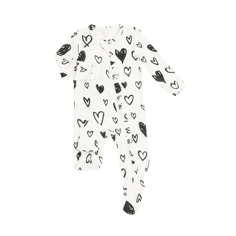 Black & White Hearts Ruffle Zipper Footie - The Milk Moustache