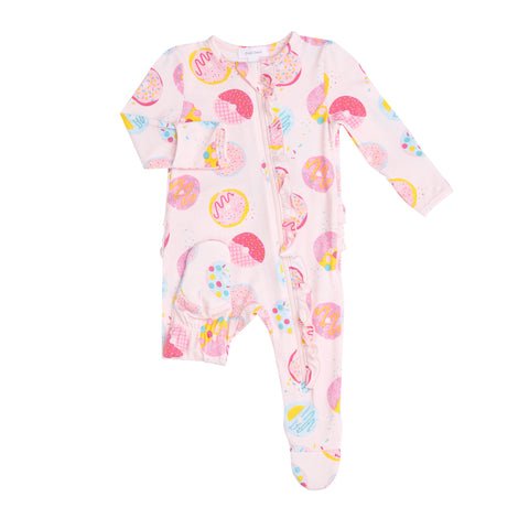 Donuts Ruffle Front Zipper Footie - The Milk Moustache
