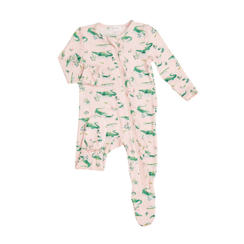 Pink Gators Ruffle Front Zipper Footie - The Milk Moustache
