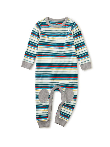Tea Collection Stripe Knee Patch Romper in Mint Chip - The Milk Moustache