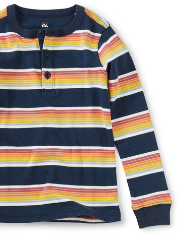 Tea Collection Long Sleeve Striped Henley Top in Whale Blue - The Milk Moustache