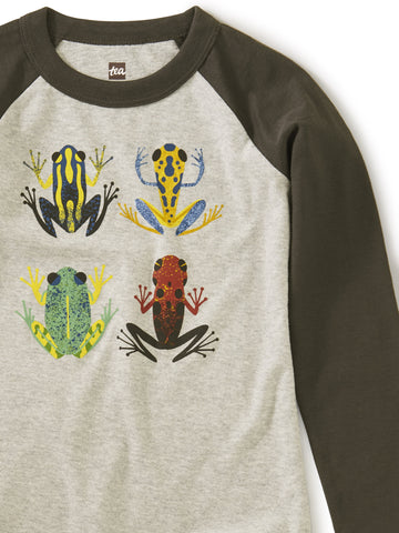 Tea Collection Cloud Forest Frogs Raglan Top in Medium Heather - The Milk Moustache