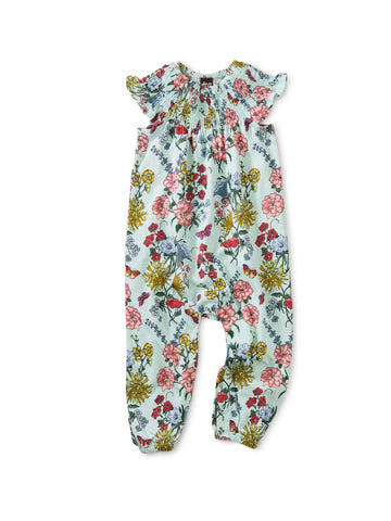 Tea Collection Smocked Sleeve Baby Romper in Intricate Floral - The Milk Moustache