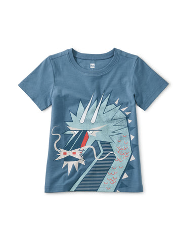 Tea Collection Tiptop Dragon Graphic Tee in Aegean Blue - The Milk Moustache