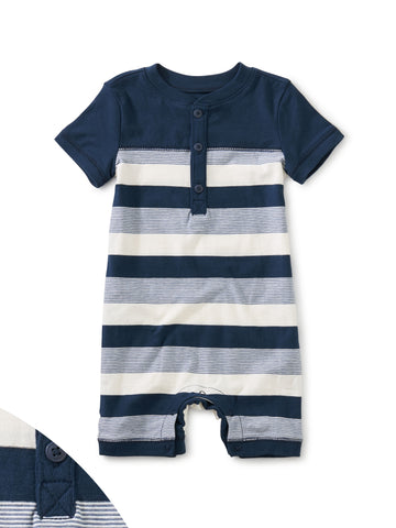 Tea Collection Stripe Henley Baby Romper in Whale Blue - The Milk Moustache