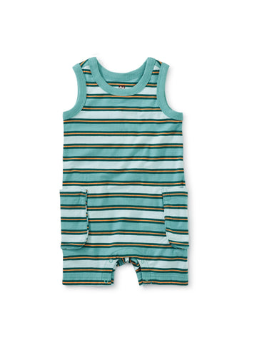 Tea Collection Cargo Pocket Tank Romper in Patina - The Milk Moustache