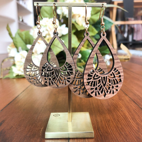 Handmade Mandala Wooden Earrings - The Milk Moustache