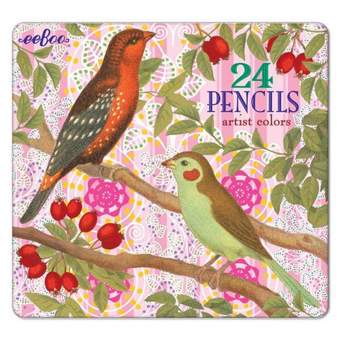 Birds with Berries Color Pencil Tin - Set of 24 - The Milk Moustache