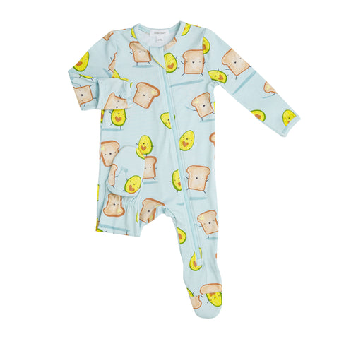 Avocado + Toast Zipper Footie - The Milk Moustache