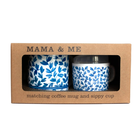 Mama and Me Cup Set - Blue & White Floral - The Milk Moustache