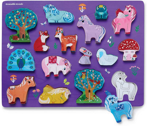 16-Piece Wood Puzzle - Unicorn Garden - The Milk Moustache