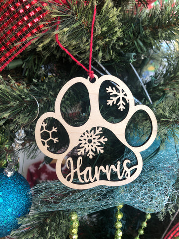 Personalized Dog Paw Wooden Christmas Ornament - The Milk Moustache