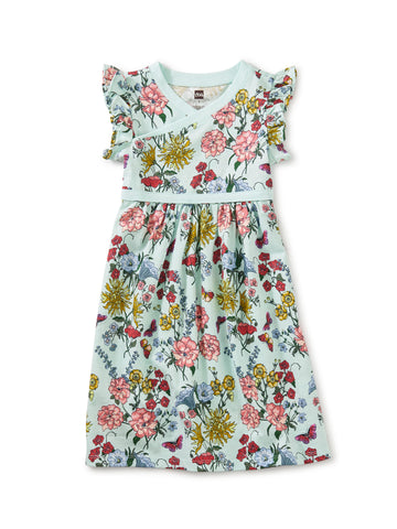 Tea Collection Wrap Neck Dress in Intricate Floral - The Milk Moustache