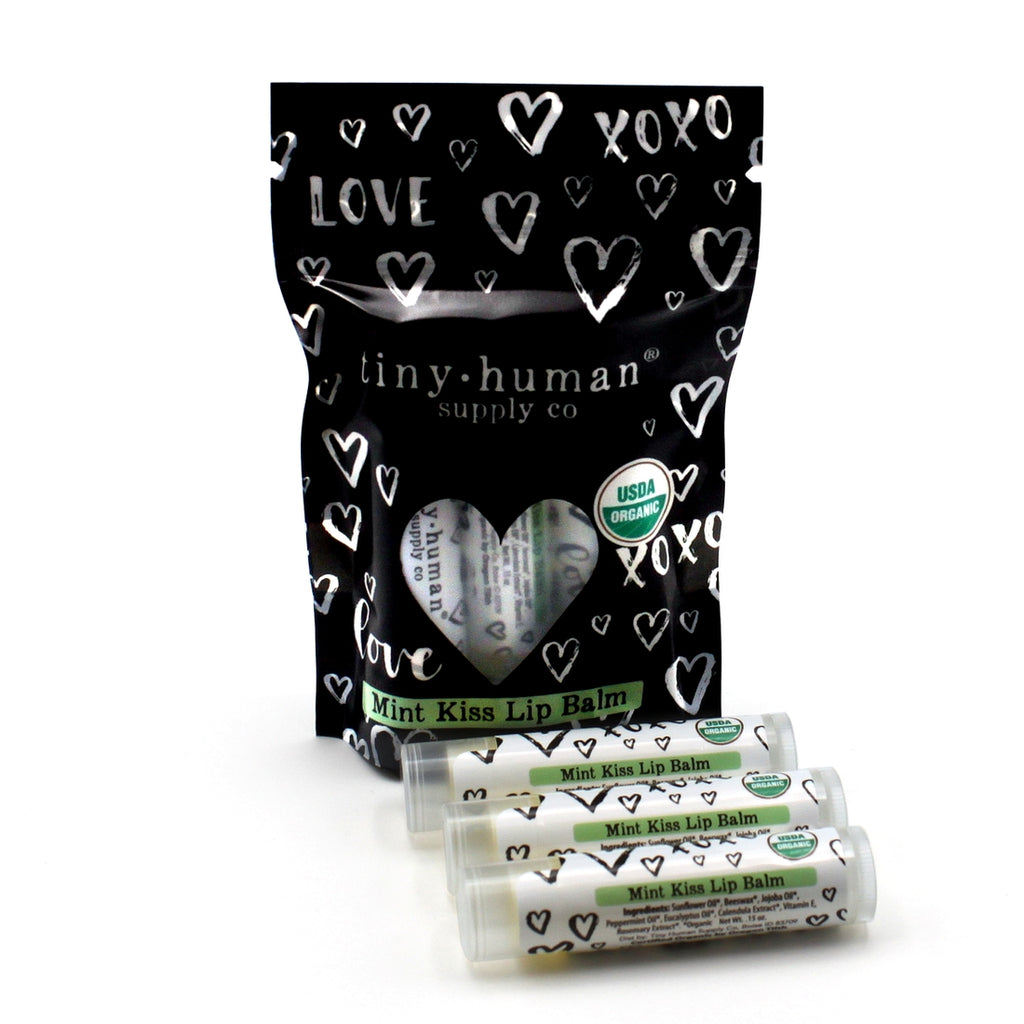 Organic Lip Balm 3 pack - Mint Kiss - The Milk Moustache
