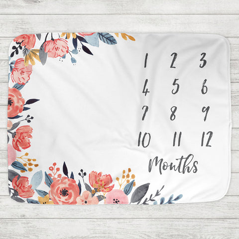 Monthly Milestone Baby Blanket - Abigail Floral Border - The Milk Moustache