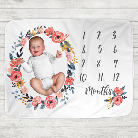 Monthly Milestone Baby Blanket - Addie Floral Frame - The Milk Moustache