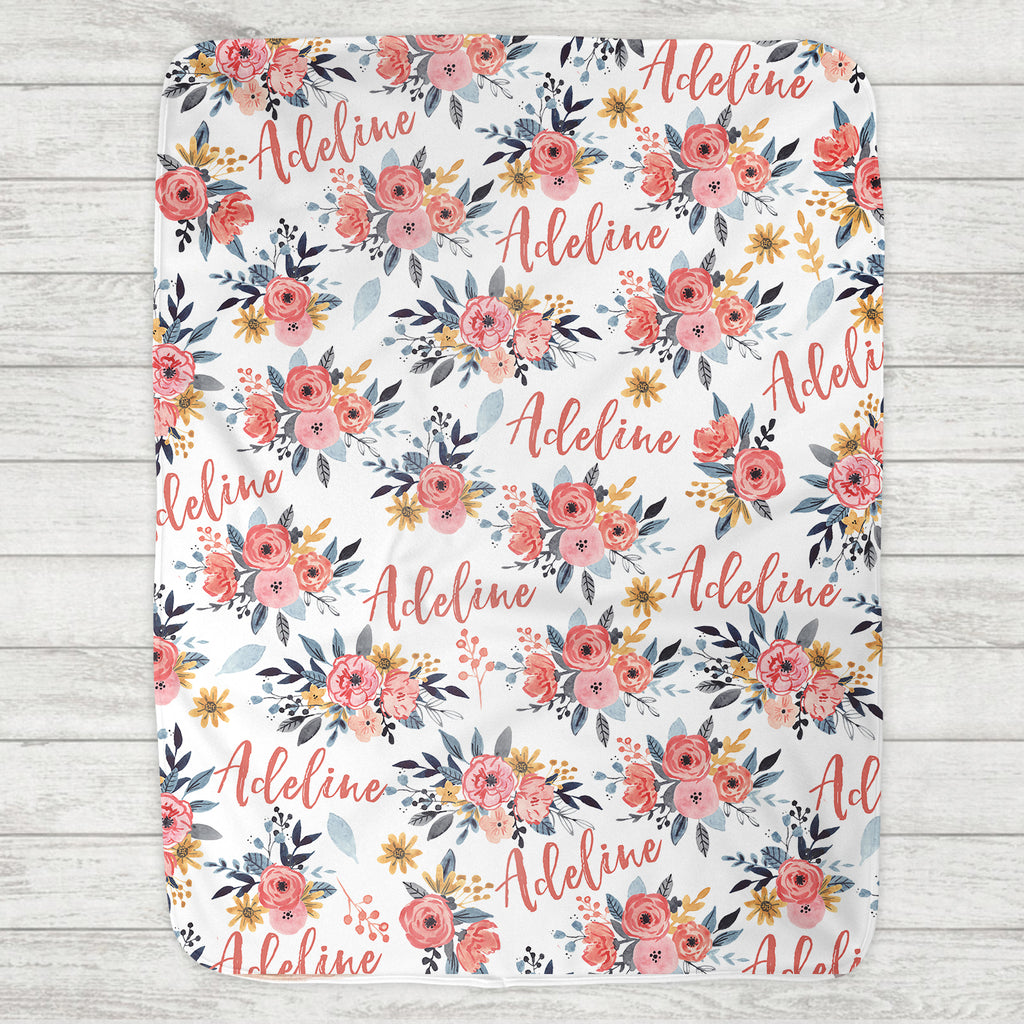 Custom Personalized Name Blanket - Adeline Floral - The Milk Moustache