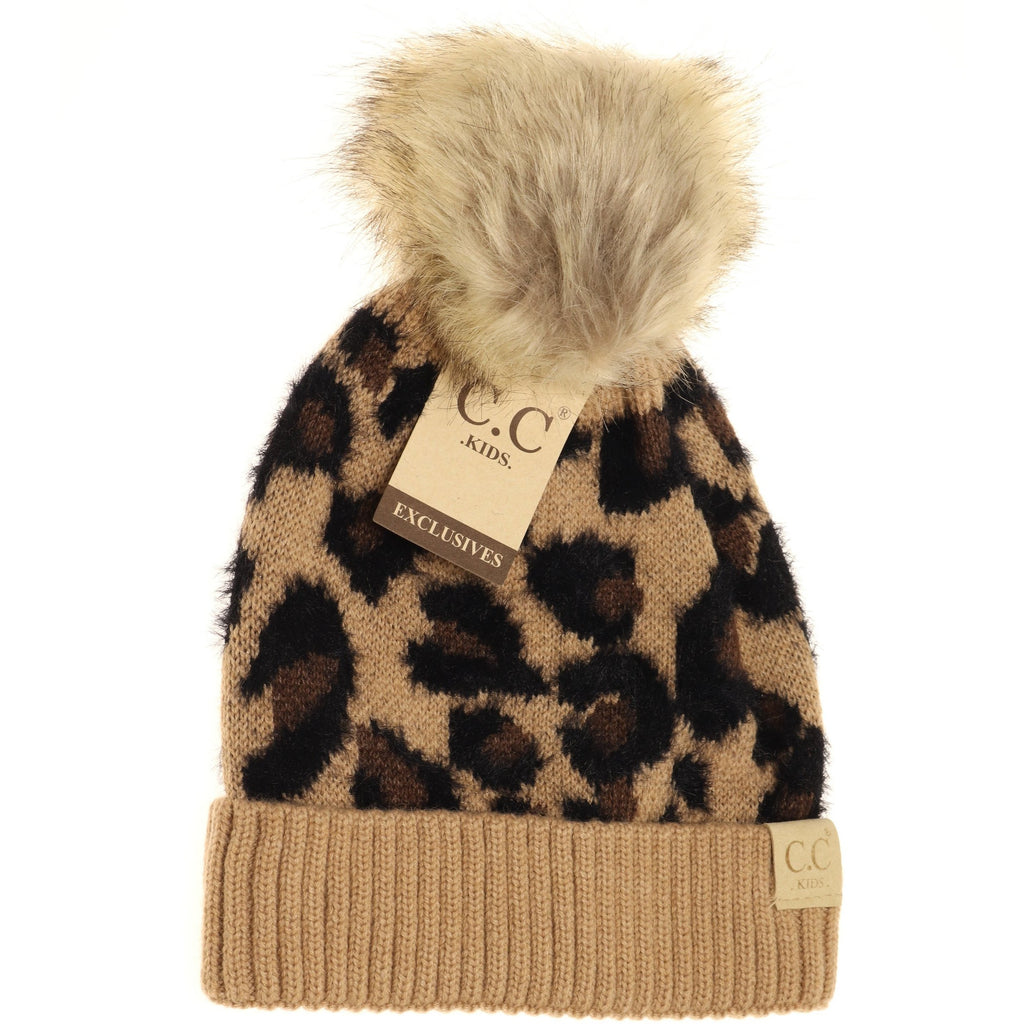 Kids CC Beanie Leopard Pom Beanie  - Assorted Colors - The Milk Moustache