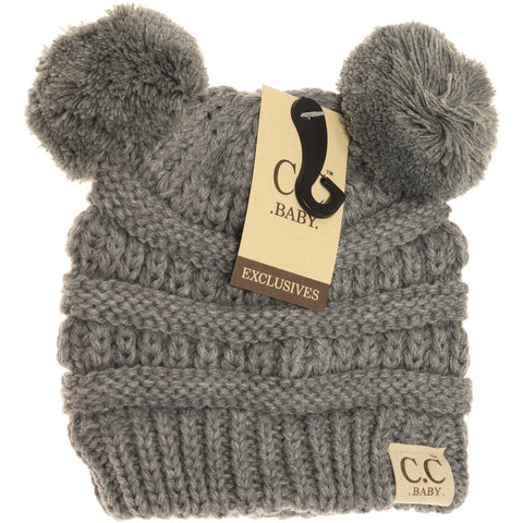 Baby CC Beanie Double Pom - Assorted Colors - The Milk Moustache