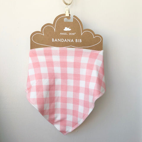 Angel Dear Bandana Bib - Pink Gingham - The Milk Moustache