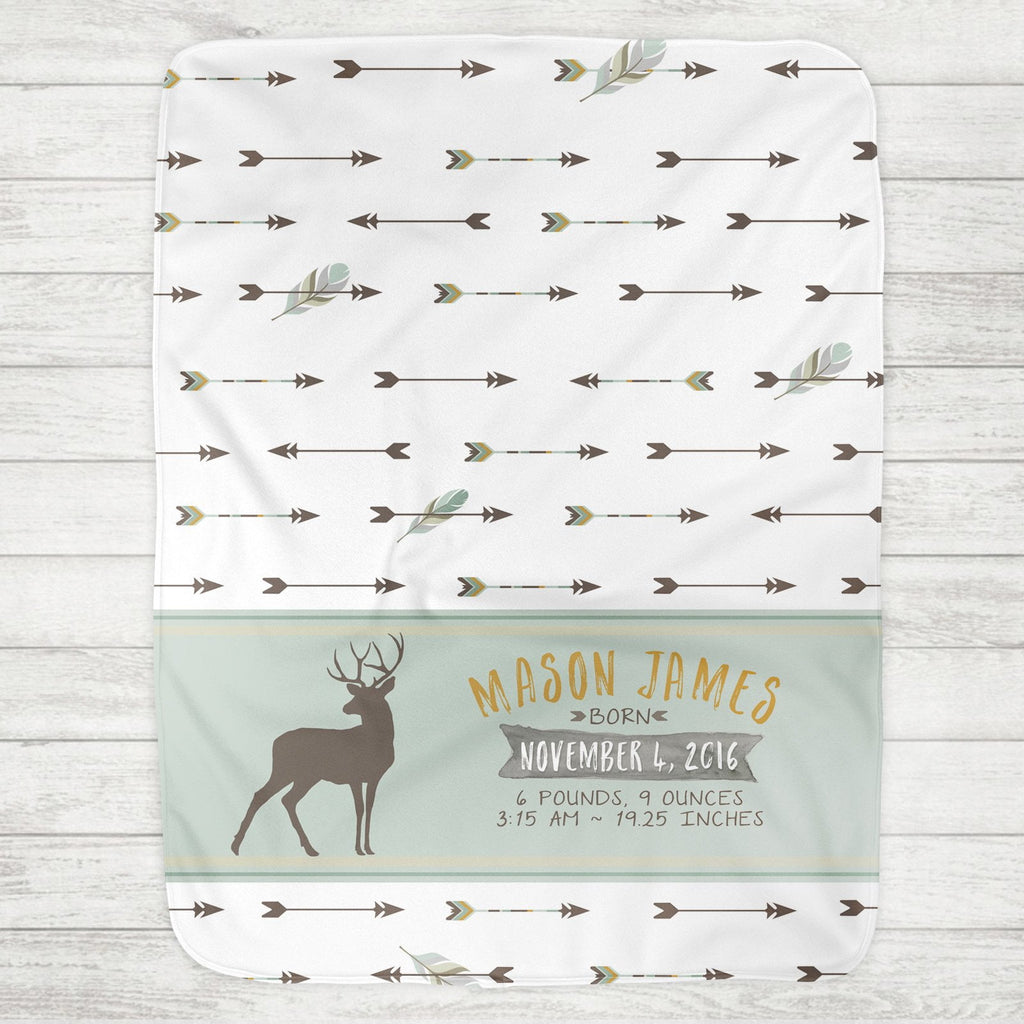 Custom Personalized Birth Stat Baby Blanket - Deer & Arrows - The Milk Moustache