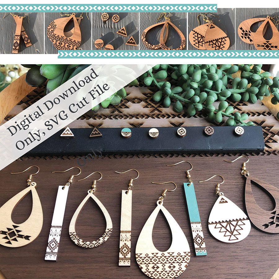 Boho - Tribal Inspired Earring Set Digital Laser SVG PDF File **NOT A PHYSICAL PRODUCT** - The Milk Moustache