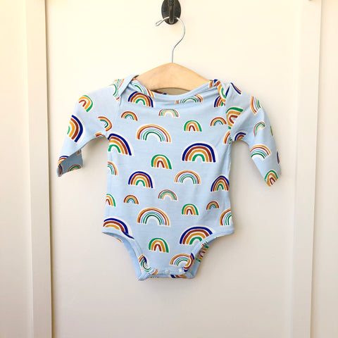 Angel Dear Blue Rainbows Lap Shoulder Onesie - The Milk Moustache