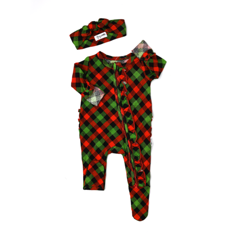 Gigi and Max Paxton *includes headband* Christmas Plaid Ruffle Zip - Newborn - The Milk Moustache