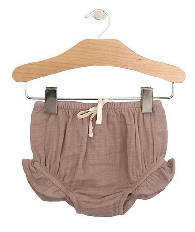 City Mouse Muslin Ruffle Bloomers in Dusty Rose - The Milk Moustache
