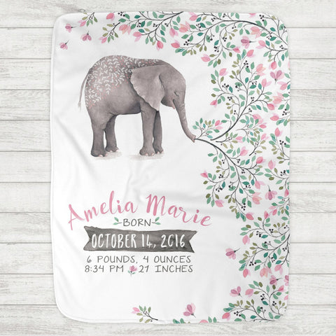 Custom Personalized Birth Stat Baby Blanket - Watercolor Elephant - The Milk Moustache