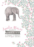 personalized baby blanket birth info elephant