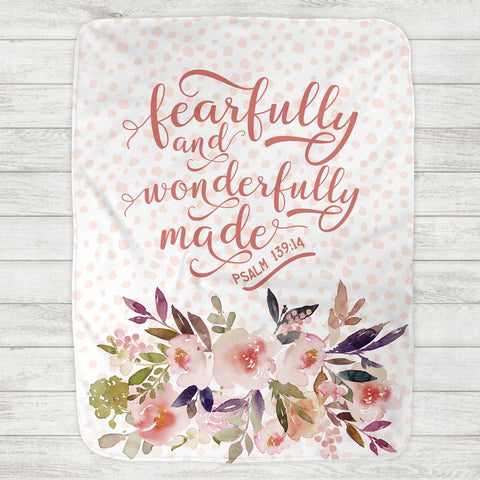 Fearfully and Wonderfully Made Baby Blanket Psalm 139:14 (Personalization Available) - The Milk Moustache