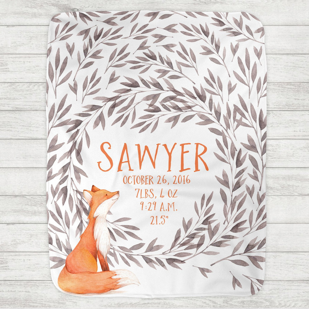 Custom Personalized Birth Stat Baby Blanket - Clever Woodland Fox
