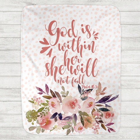 God is Within Her Baby Blanket Psalm 46:5 (Personalization Available) - The Milk Moustache