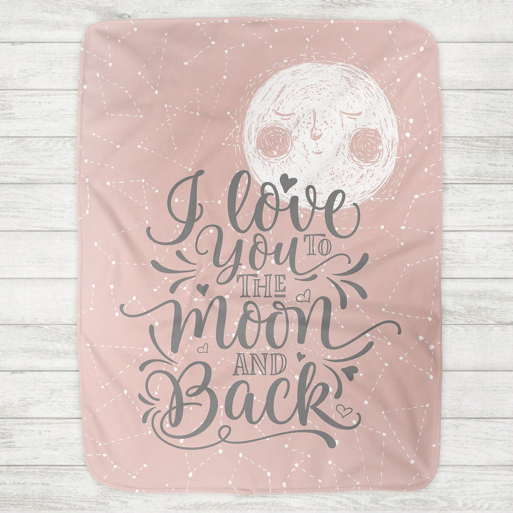 I Love You To The Moon And Back Baby Blanket - Pink Moon (Personalization Available) - The Milk Moustache