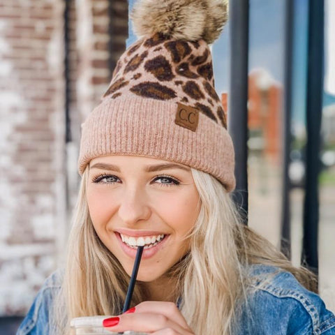 CC Beanie Leopard Fur Pom Hat - The Milk Moustache