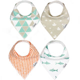 Copper Pearl Bandana Bib Set of 4 - Pacific - The Milk Moustache
