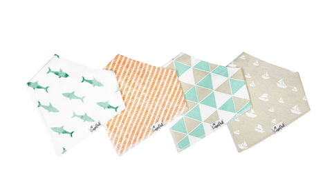 Copper Pearl Bandana Bib Set of 4 - Pacific