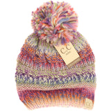 Kids CC Beanie Knit Multicolor Pom Beanie  - Assorted Colors - The Milk Moustache